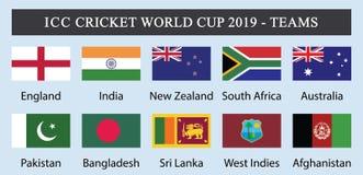 ICC krykieta puchar świata 2019-Teams ilustracja wektor