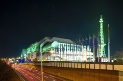 ICC messe berlin. International Congress Center (messe ICC) and radio tower in Berlin, germany, at night stock photo