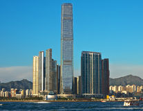 ICC Tower in Hong Kong. ICC (International Commerce Centre) in West Kowloon, Hong Kong stock photo