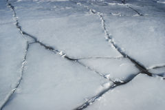 Ice. Cracked ice, on a large water body royalty free stock photography