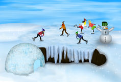 Ice. Happy kids skiting on the ice Royalty Free Stock Photos