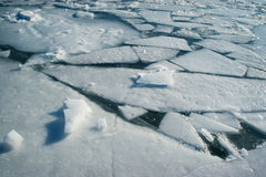 Ice. Frozen water surface with cracked ice royalty free stock photo
