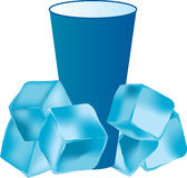 Ice. Realistic ice cubes and refreshner drink Royalty Free Stock Images