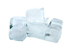 Ice. Cubes of ice on a white background Stock Images
