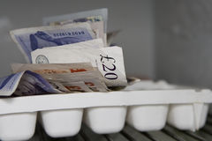 On ice. Cash hidden in the freezer Stock Photo