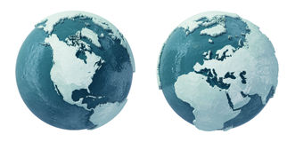 Ice Age. 3d Winter Earth globe from ice and snow Royalty Free Stock Photography