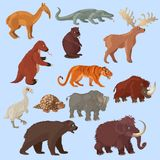 Ice Age Animals Set. With mammoth bear and deer bird tiger on blue background isolated vector illustration Royalty Free Stock Photo