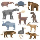 Ice age animals vector illustration. Vector prehistoric animals. Prehistoric cartoon ancient mammal ice age animals and wildlife isolated ice age animals. Wild stock illustration