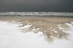 Ice age is coming... A beach covered with lumps of frozen snow on a stormy day. An overcast sky and dark colours give an impression of a harsh climate. A vision Royalty Free Stock Photography