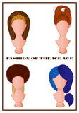 Ice Age fashion hair style. Set of various Ice Age fashion hair styles on mannequins stock illustration