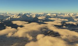 Ice age. Icy wasteland of the clouds in the sky. 3D render royalty free illustration