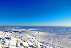 Ice Age. A large lake which is frozen in winter Stock Image
