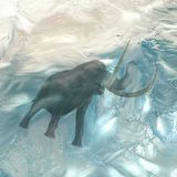 Ice Age Mammoth Frozen on an Iceberg. An incredible ice age mammoth frozen in an iceberg for thousands of years. Illustration with vibrant and realistic colors stock illustration