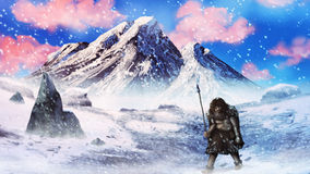 Ice age neanderthal hunter in a snow storm - digital painting. Artwork of a neanderthal caveman hunter walking through an ice age blizzard stock photography