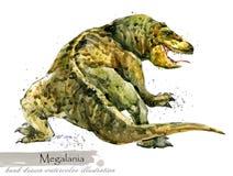 Ice Age wildlife. prehistoric period fauna. Megalania. Hand drawn watercolor animal royalty free illustration
