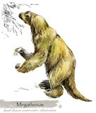 Ice Age wildlife. prehistoric period fauna. Megatherium. Hand drawn watercolor animal vector illustration