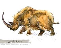 Ice Age wildlife. prehistoric period fauna. Woolly Rhino. Hand drawn watercolor animal vector illustration