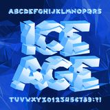 Ice age alphabet font. Frozen 3d letters and numbers on blue polygonal background. Stock vector typeface for your typography design royalty free illustration