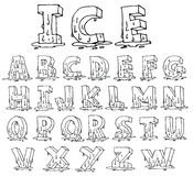 Ice Alphabet font line - Vector illustration Stock Image