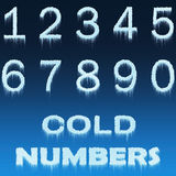 Ice Alphabet Numbers  on blue background Royalty Free Stock Image