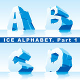 Ice alphabet. Part 1. Vector set of ice letters. Part 1 vector illustration