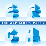 Ice alphabet. Part 2. Vector set of ice letters. Part 2 vector illustration