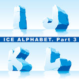 Ice alphabet. Part 3. Vector set of ice letters. Part 3 stock illustration