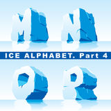 Ice alphabet. Part 4. Vector set of ice letters. Part 4 royalty free illustration
