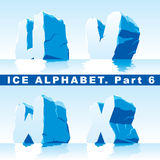 Ice alphabet. Part 6. Vector set of ice letters. Part 6 royalty free illustration