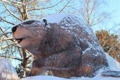 The ice animal in the City Park in Luleå Royalty Free Stock Photo