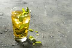 Ice apple tea with mint. Homemade ice apple tea with mint leaves Stock Photos