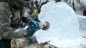 Ice architect, Shrovetide (Maslenitsa), Ukraine, stock video footage