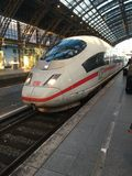 ICE arrives. Collogne Main Station Royalty Free Stock Photo