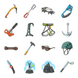 Ice ax, conquered top, mountains in the clouds and other equipment for mountaineering.Mountaineering set collection Royalty Free Stock Photo
