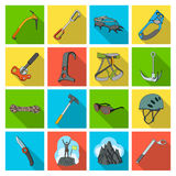Ice ax, conquered top, mountains in the clouds and other equipment for mountaineering.Mountaineering set collection Royalty Free Stock Photography