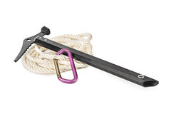 Ice axe, carbine and rope Stock Photos