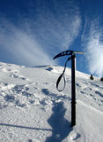 Ice axe on winter. My ice axes on Bucsa mountain, in a frozen day Royalty Free Stock Photo
