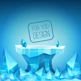 Ice backdrop. Ice studio for the presentation of your design. Crystals, ice block vector illustration. Free space for text or object royalty free illustration