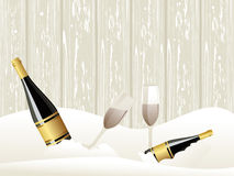 Ice background with Champagne bottle, glasses Royalty Free Stock Photo