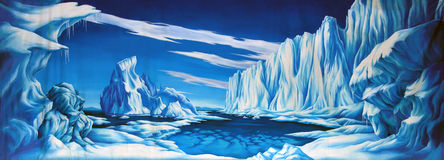 Ice background. Theatre backdrop featuring snow and ice in polar landscape royalty free illustration
