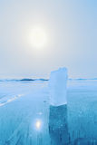 Ice of Baikal lake in Siberia Royalty Free Stock Images