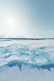 Ice of Baikal lake in Siberia Royalty Free Stock Photography