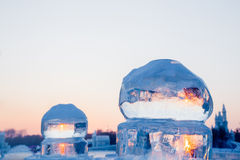 Ice balls at sunset in winter Royalty Free Stock Image