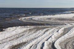 Ice at Baltic sea coast. Royalty Free Stock Photo