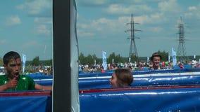 Ice bathtubs stage in extrim race. Tyumen stock video