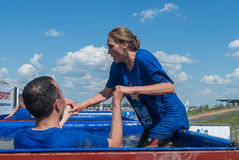 Ice bathtubs stage in extrom race. Tyumen Stock Photography