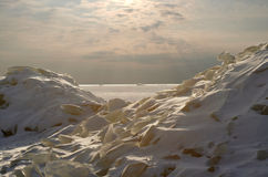 Ice battle-field-2. Heap of ice hummocks on coast of gulf of Finland Stock Photo
