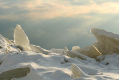 Ice battle-field. Heap of ice hummocks on coast of gulf of Finland Stock Photo