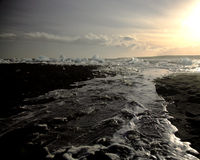 Ice on the beach. From broken Icebergs Iceland Royalty Free Stock Photography