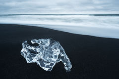 Ice on the beach with black sand in Iceland Stock Photography